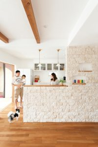石貼り キッチン 犬と暮らす しっくいの家