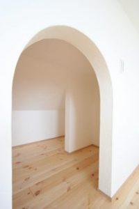アーチ垂れ壁 しっくい 収納スペース