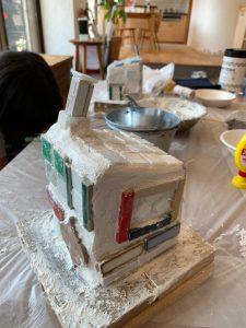 炭化コルク 家型しっくい タイル 夏休み工作